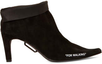 Off-White Off White Black For Walking Suede Ankle Booties