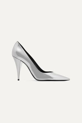 Saint Laurent Kiki Mirrored-leather Pumps - Silver