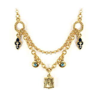 LIBRARY NEW Vatican Collection Dual Strand Blue Charm Necklace