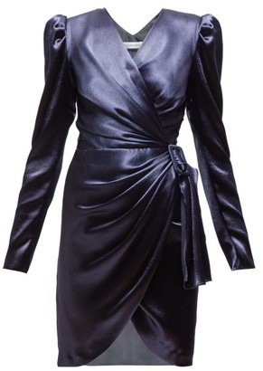 Altuzarra Annette Wrap Front Satin Mini Dress - Womens - Dark Blue