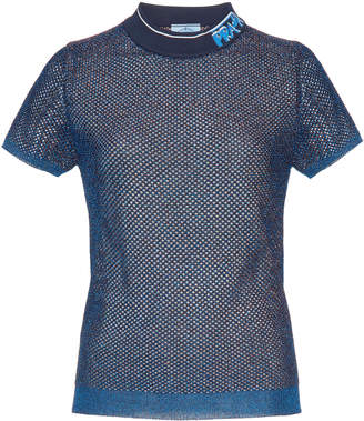 Prada Logo Collar Lurex Mesh Waffle-Knit Top