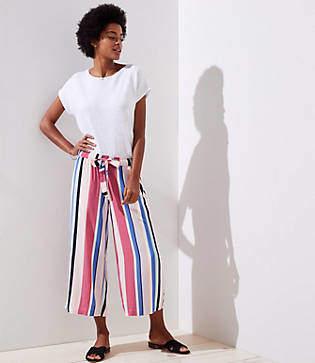 Striped Tie Waist Wide Leg Pants