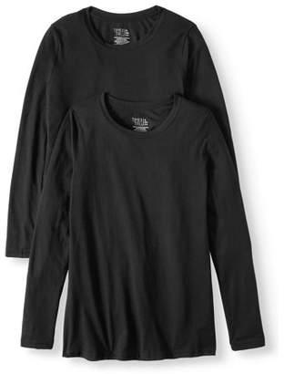 Time and Tru Women's Long Sleeve Crewneck T-Shirt, 2 Pk Bundle