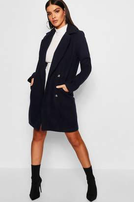 boohoo Military Button Through Wool Look Coat