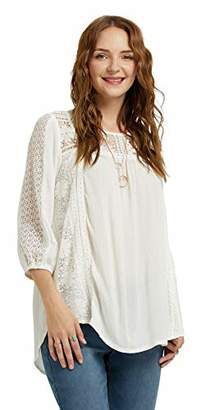SONJA BETRO White Lace Inset Crinkle Woven 3/4 Balloon Sleeve Tunic Top Casual Bohemian Blouse