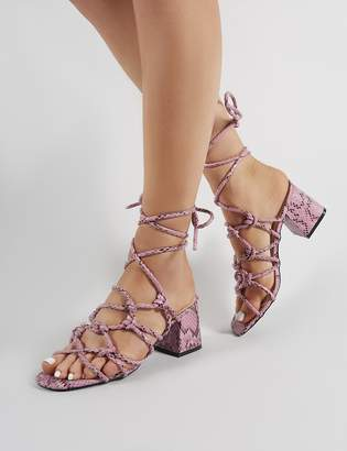 cc79105170d Public Desire Freya Knotted Strappy Block Heeled Sandals in Lilac Snakeskin