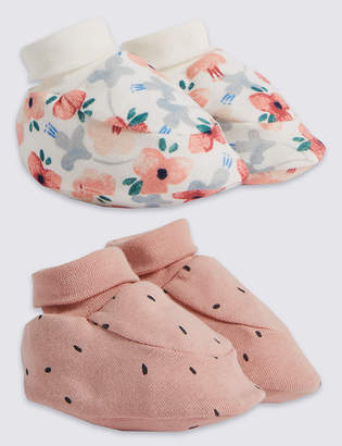 Marks and Spencer 2 Pack Cotton Patterned Booties