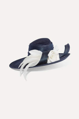 Philip Treacy Buntal And Organdie-trimmed Sinamay Straw Hat - Navy