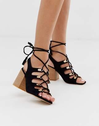 Public Desire Tiana black block heel tie up sandals