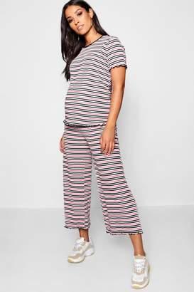 boohoo Maternity Pinstripe Rib Culotte Set