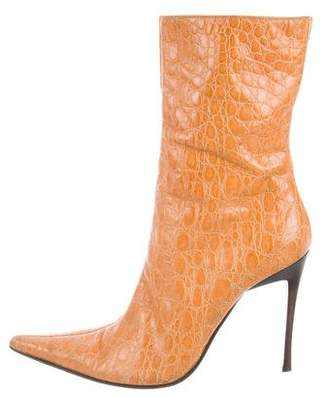 Casadei Crocodile Ankle Boots