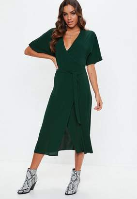 Missguided Green Short Sleeve Tie Belt Midi Dress, Green