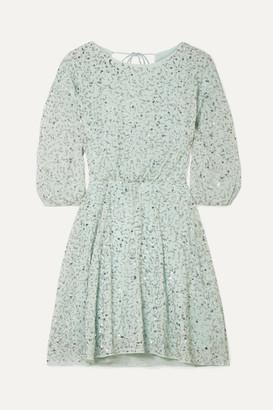 Alice + Olivia Alice Olivia - Palmira Embellished Chiffon Mini Dress - Mint