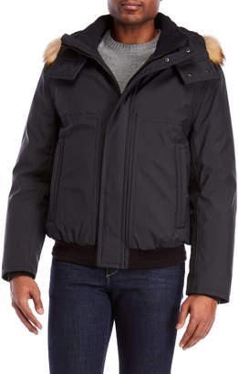 Andrew Marc Faux Fur Trim Hooded Coat