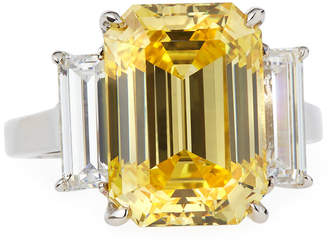 FANTASIA Emerald-Cut Canary CZ Ring w/ Baguettes