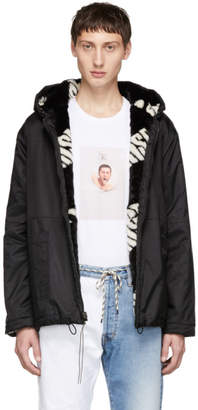 Aries Reversible Black and White Hooded Jacket