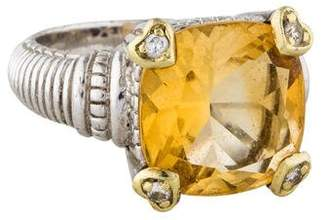 Judith Ripka Citrine & Diamond Cocktail Ring