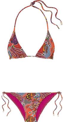 Etro Printed Triangle Bikini - Red