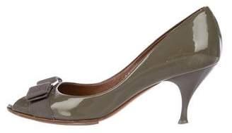 Salvatore Ferragamo Patent Leather Mid-Heel Pumps
