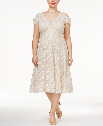 R & M Richards Plus Size Lace Cold-Shoulder Dress $109 thestylecure.com