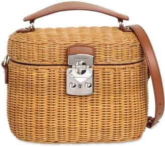Miu Miu Midollino Leather & Rattan Shoulder Bag