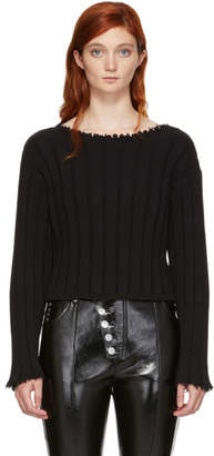 Alexander Wang Black Raw Edge Off-the-Shoulder Sweater