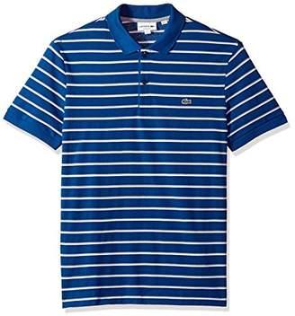 Lacoste Men's Short Sleeve Striped Mini Pique Regular Fit Polo