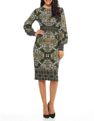 Maggy London Medallion Print Bishop-Sleeve Sheath Dress