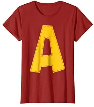 Cute Stitched Letter A T-shirt   Halloween Matching Costume