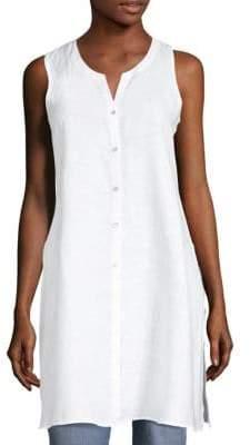 Eileen Fisher Handkerchief Button Front Organic Linen Tunic
