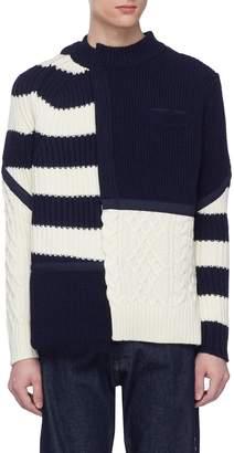 Sacai Mix knit patchwork sweater