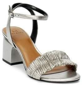 Halston H Plisse Ankle Strap Sandals