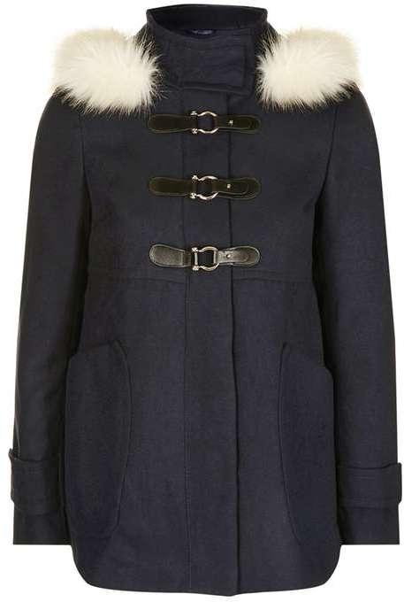 TopshopTopshop Hooded fur coat
