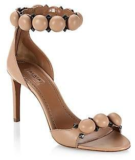 Alaia Women's Leather Bombe Ankle Strap Sandals