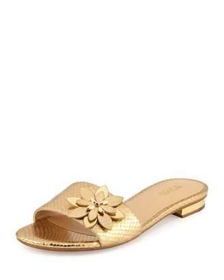 MICHAEL Michael Kors Heidi Floral Flat Slide Sandal, Pale Gold $120 thestylecure.com