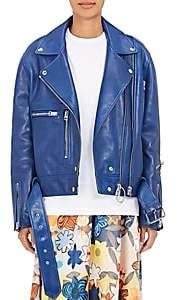 Acne Studios Women's Lotta Leather Moto Jacket - Ocean Blue