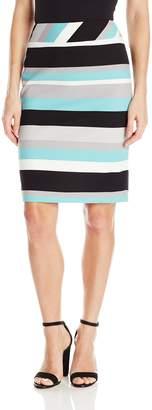 Nine West Women's Scuba Crepe Striped Skirt