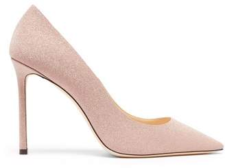 Jimmy Choo Romy 100 Glitter Leather Pumps - Womens - Light Pink