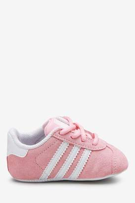 adidas Girls Pink Gazelle Crib Trainers - Pink