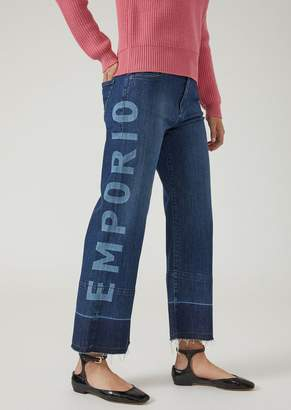 Emporio Armani J33 Wide-Fit Jeans With Lasered-Printed Logo