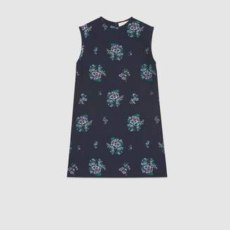 Gucci Flowers fil coupe cotton wool tunic top
