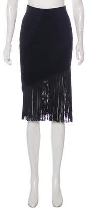 Timo Weiland Fringe-Trimmed Rib Knit Skirt