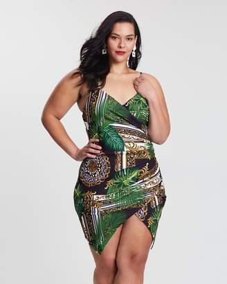 Palm Print Cami Wrap Dress
