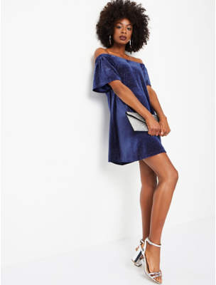 Blue Glitter Velour Bardot Dress