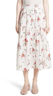Women's Rebecca Taylor Marguerite Poplin Midi Skirt $395 thestylecure.com