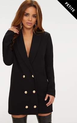 PrettyLittleThing Petite Black Gold Button Oversized Blazer Dress