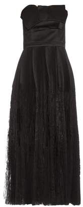 Alexander McQueen Strapless Fan Pleated Silk Dress - Womens - Black
