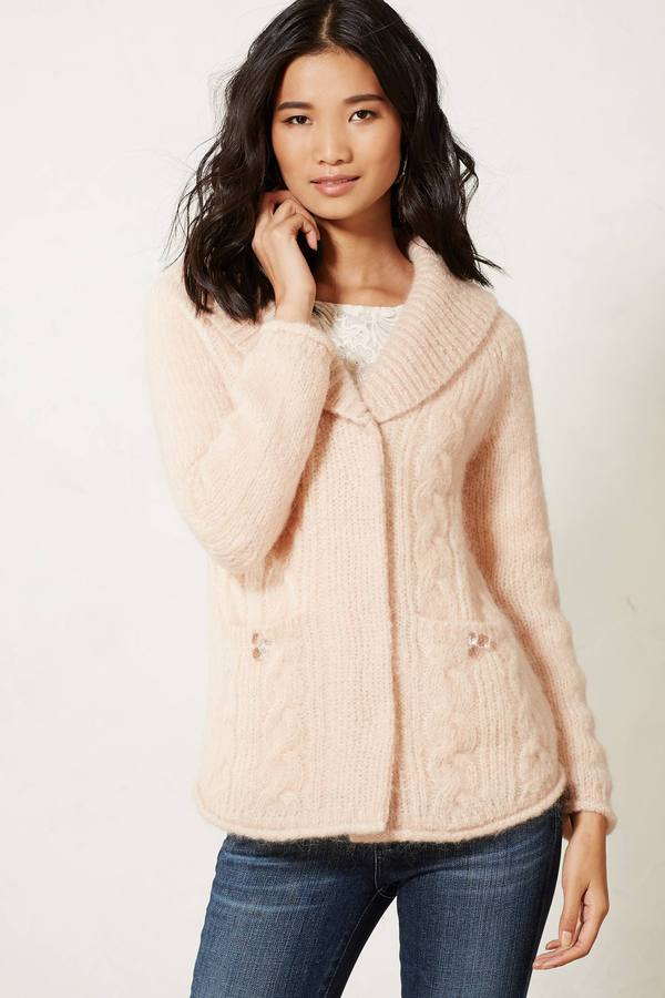 Anthropologie Cabled Sweater Jacket