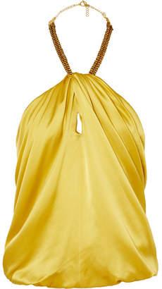 HANEY Claudia Embellished Silk-satin Halterneck Top - Saffron