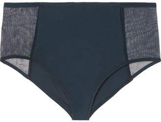 Skin - Odette Tulle And Stretch Organic Pima Cotton-jersey Briefs - Midnight blue